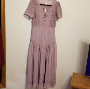Anthropologie sheer swiss dot overlay maxi dress